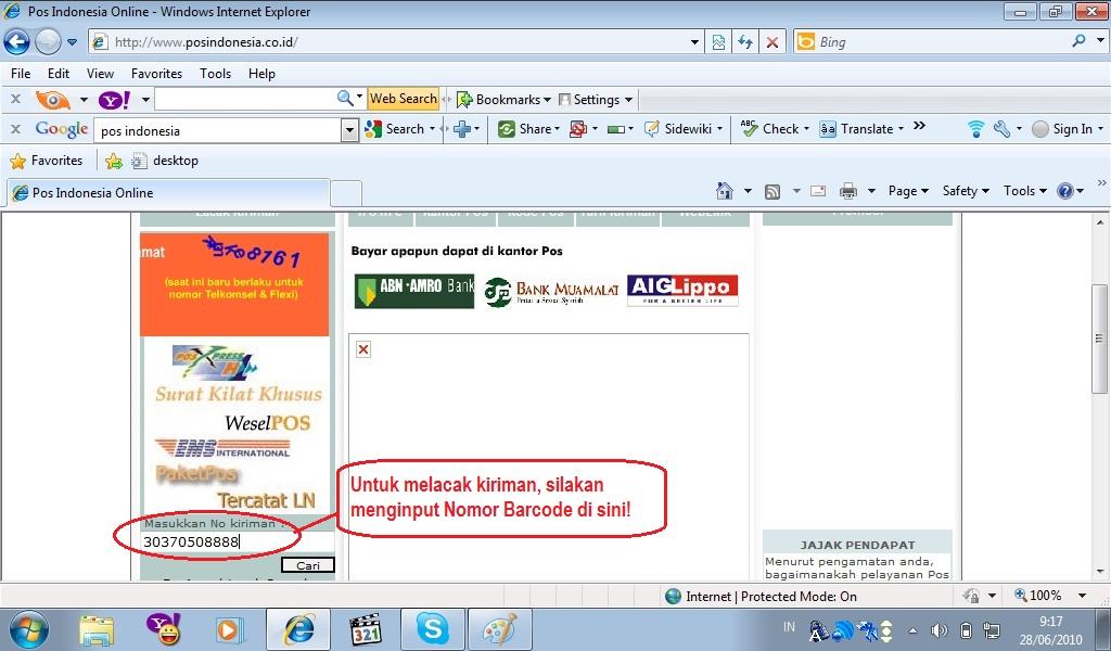 lacak pengiriman pos indonesia di sehat herbal